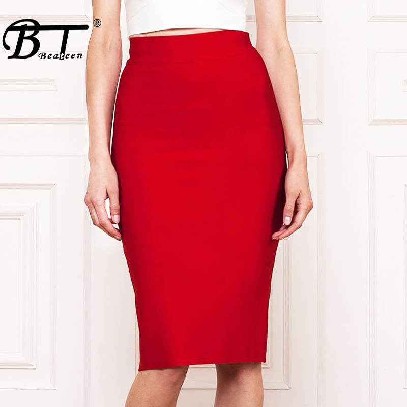 Beateen Solid Sexy Office 8 Color Empire Lady Skirt Fashion Pencil Knee Length Party Bandage Women Skirt Faldas Saia 2017 New
