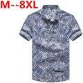 8XL 7XL Случайный Рубашки Мужчины социальный slim Одежда Хлопок Рукавом Летний пляж цветочный рубашка camisa бесплатная доставка Корейской версии