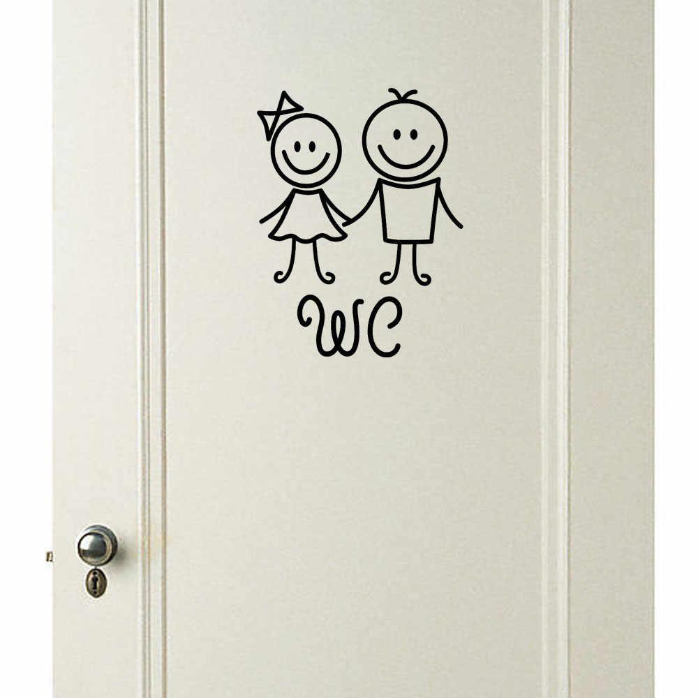Abnehmbare Niedlichen Mann Frau Kinder Waschraum Wc WC Aufkleber Dekor Aufkleber Wohnzimmer Schlafzimmer Bad Küche Decor