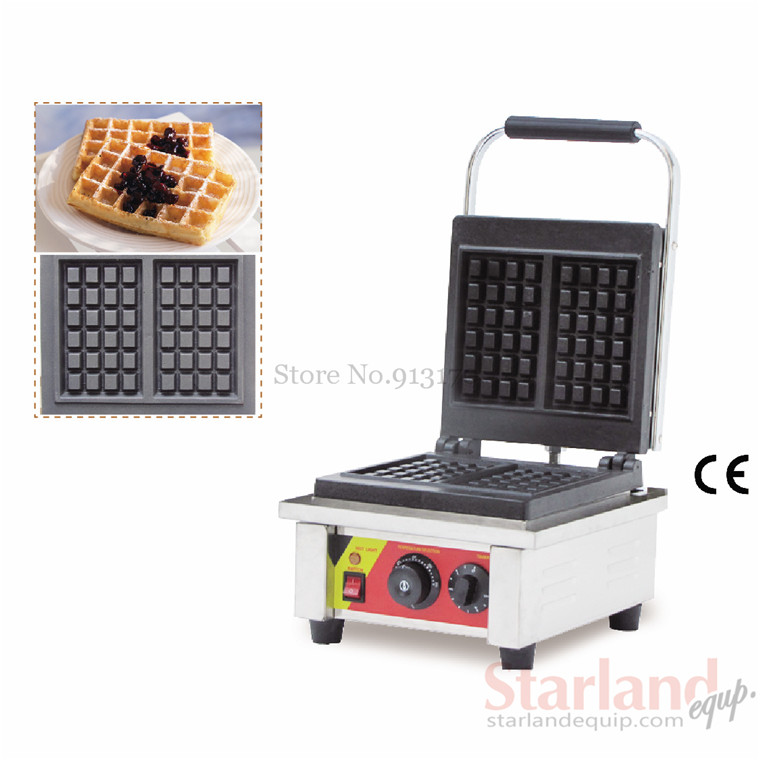Commercial  waffle machine stainless steel square-shaped with two pcs moulds Non-Stick Cooking Surface 2016 new model 110v 220v commercial non stick carton bear waffle baker stainless steel waffle machine unique design with 2 pcs molds 220v 110v