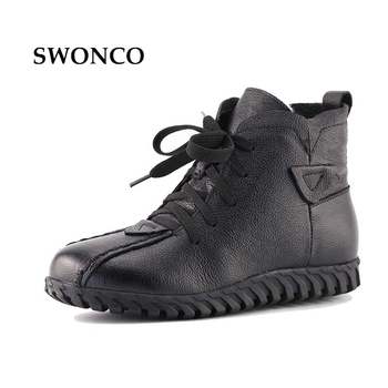 Genuine Leather Wool Warm Snow Boots Woman 2017 Winter Female Ankle High Top Plush Really Fur Shoes Botas De Nieve Lana - discount item  50% OFF Women's Shoes