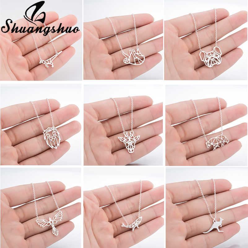 Shuangshuo Animal Dinosaur Pendant Necklaces For Women Stainless Steel Long Silver Necklace Chain Choker Collier Femme Collares