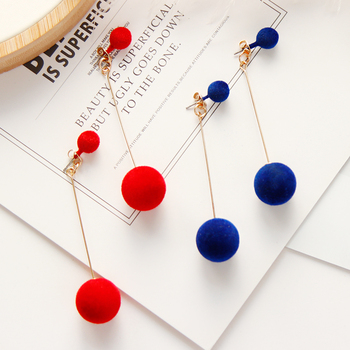 Fashion Red Black Plush Ball Personality Drop Earrings For Women Jewelry Gift Round Long Tassel Simple.jpg 350x350 - Fashion Red Black Plush Ball Personality Drop Earrings For Women Jewelry Gift Round Long Tassel Simple Dangle Earrings Statement