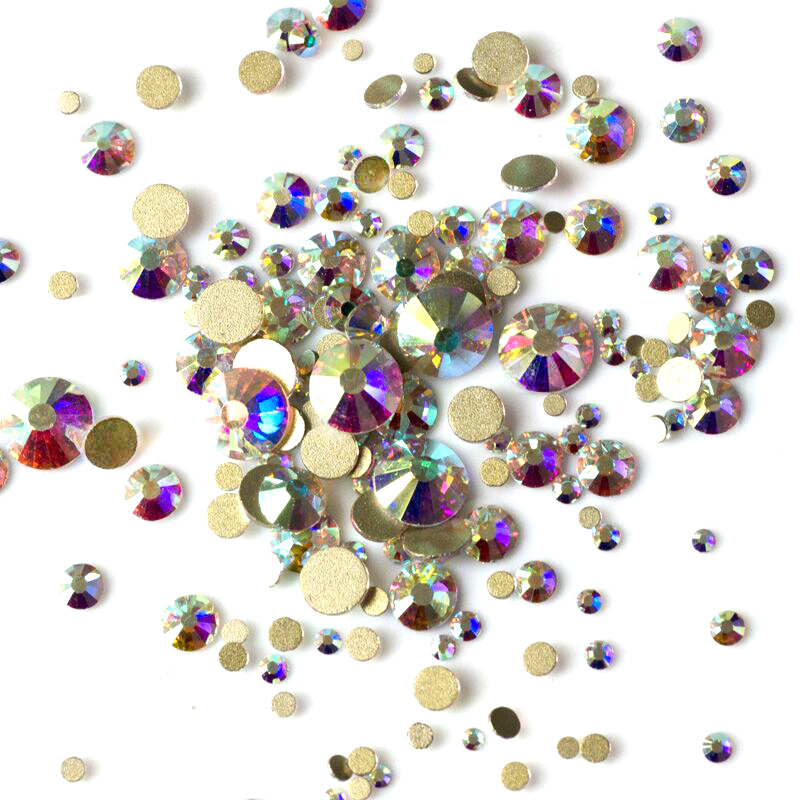 Mix Size Crystal AB Non Hotfix Flatback Rhinestones Nail rhinestoens For Nails 3D Nail Art Decoration Gems Loose Rhinestones mix ss3 ss30 crystal ab and clear shinning designs non hotfix flatback nail rhinestones 3d nail art decorations glitter gems