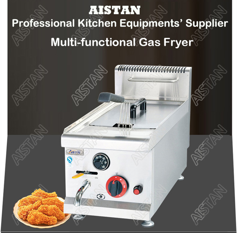 GF71A/GF72A/GF73A commercial counter top stainless steel big volume lpg gas chicken deep fryer machine with basket 4