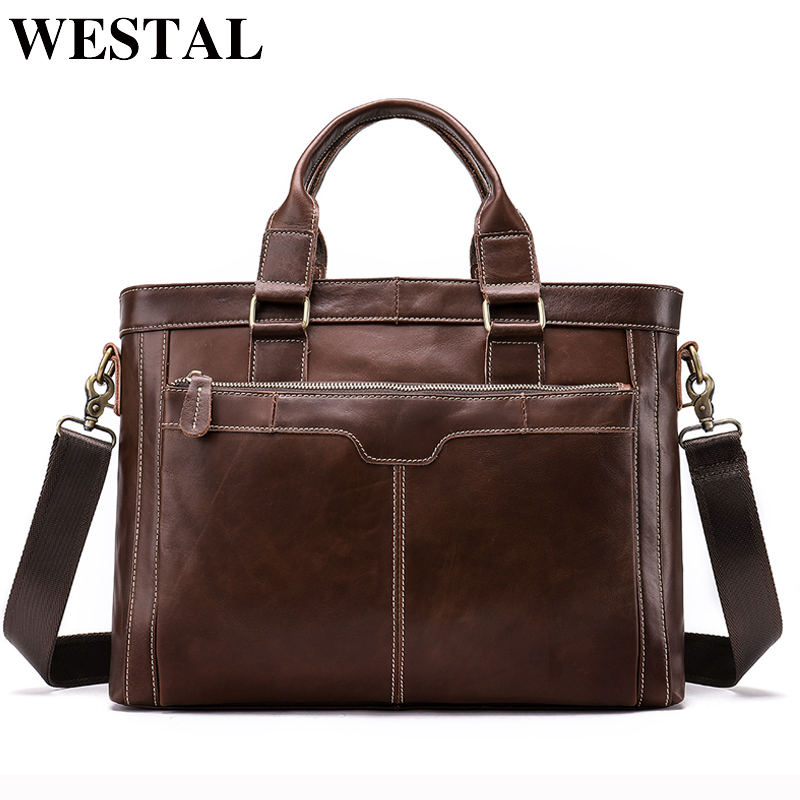 WESTAL Messenger Bag Lelaki Shoulder Bags Man Handbags Totes Genuine Leather Crossbody Bags lelaki bag Leather Laptop Briefcases