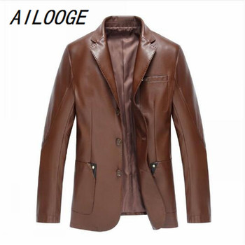 AILOOGE Fashion Men's Leather Jackets And Coats Suit Collar Leather Jackets Men Slim Clothing Soft Faux Leather Clothes For Man