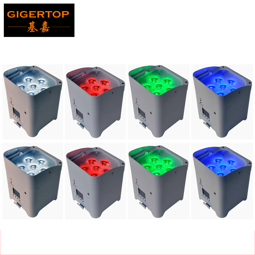 8XLOT 6x6W Stage Battery Led Par Light Wireless Switch Remote Control RGBWA UV 6IN1 Color Adjustable Stand Aluminum Casting Case freeshipping 10in1 charging flightcase packing 12 18w stage wireless battery flat led par light rgbaw uv 6in1 uplighting par can