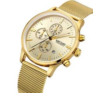 Image 3 - MEGIR chronograph erkek kuvars İzle ince örgü çelik bant erkek saatler altın rahat iş marka erkek saat kol saatleri MG2011