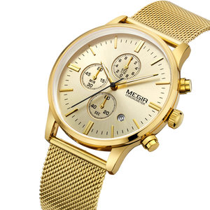 Image 3 - MEGIR chronograph mens quartz watch slim mesh steel band men watches gold casual business brand male clock wristwatches MG2011