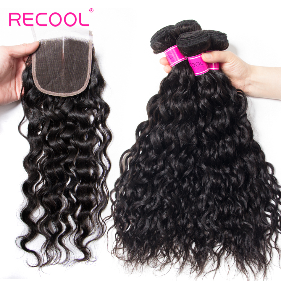 Recool Hair Water Wave Bundles With Closure Remy Peruvian Hair 3 Bundles and Lace Closure Deals