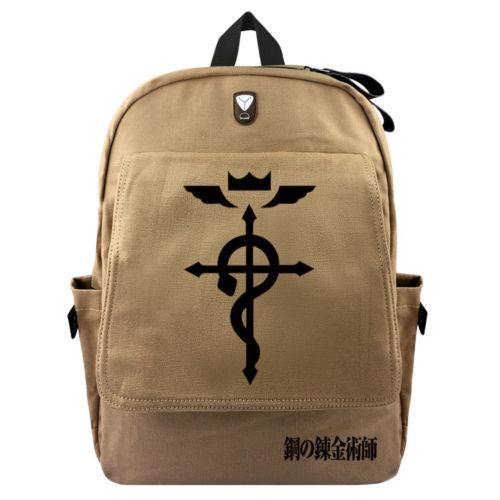 New Anime Fullmetal Alchemist Backpack Schoolbag Cartoon Cosplay Canvas Shoulder Laptop Travel Bag Knapsack Gift