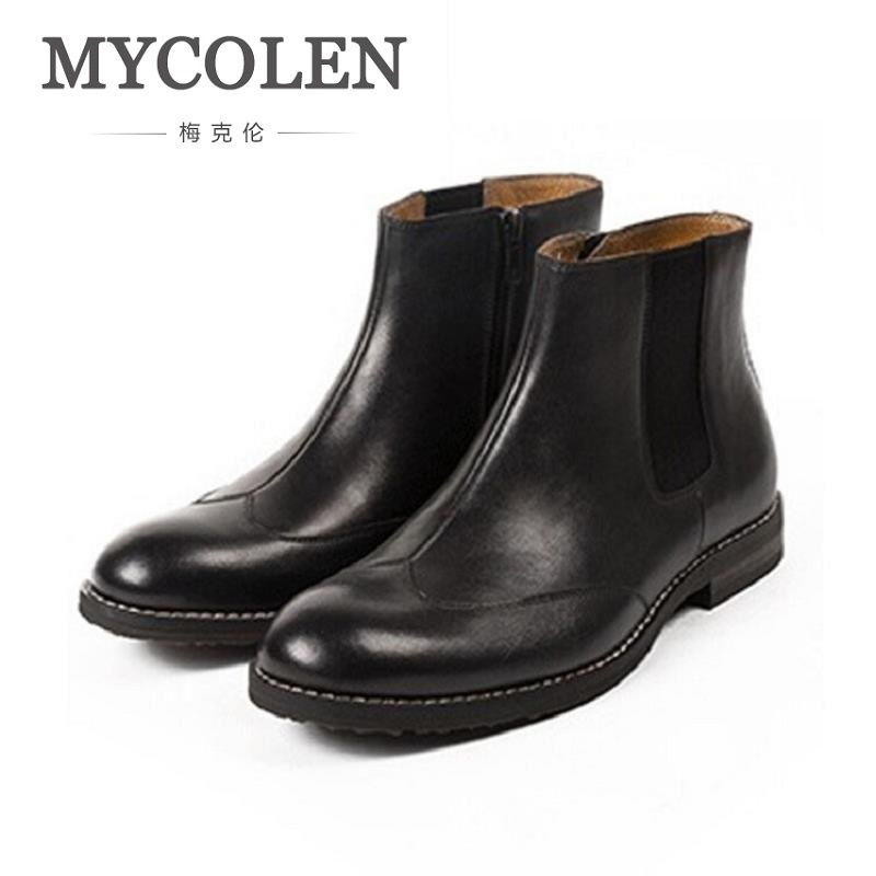 MYCOLEN Genuine Leather Autumn Winter Shoes Men Chelsea Boots Fashion Men's Footwear Male Brand Ankle Boots botas masculina