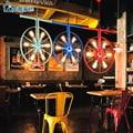 Лофт ретро промышленный ветер личность Ресторан Бар американский кантри Железный бар искусство цвет колесо люстра
