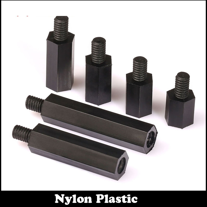 M3 M3*8 M3x8 M3*10 M3x10 6 Plastic Single End Stud Nylon Screw Pillar Black Male To Female Hex Hexagon Standoff Stand off Spacer 100pcs m3 nylon black standoff m3 5 6 8 10 12 15 18 20 25 30 35 40 6 male to female nylon spacer spacing screws