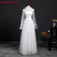 Vestido De Novia Wedding Dress 2018 High Neck Tie Long Sleeves A line Lace up Robe de Marriage Wedding Gowns
