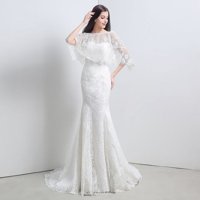 In Stock Cheap Ivory Lace Bridal Gowns Mermaid Free Shipping White ...