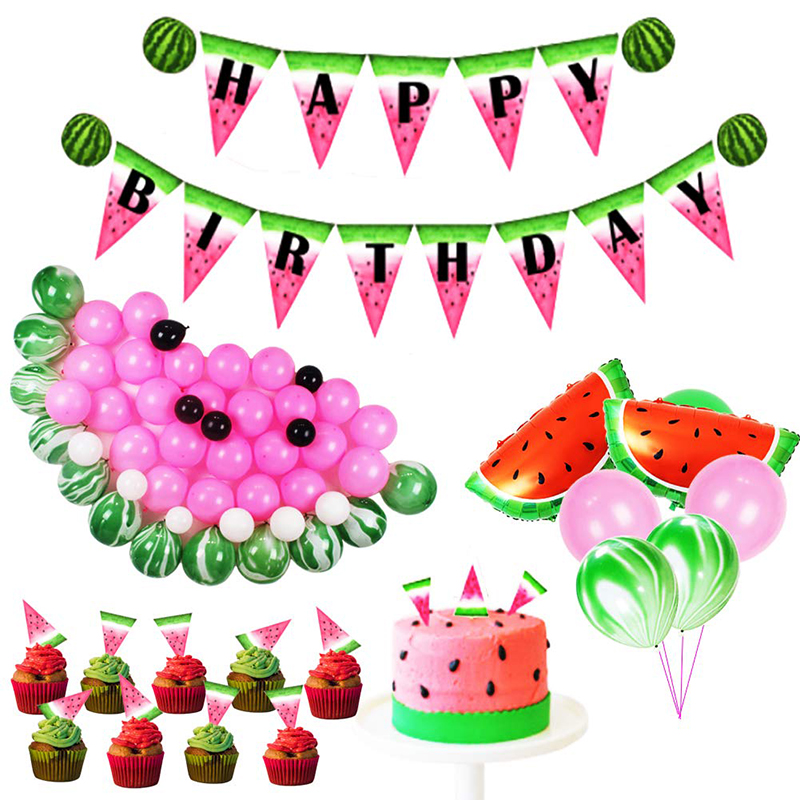 83pc Watermelon Party Supplies Happy Birthday Banner Foil Balloons Latex Kids Hawaii decorations Adult