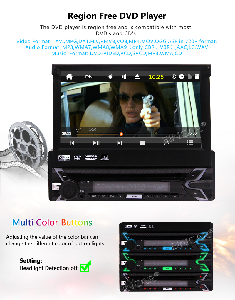Sale Capacitive Touch Screen Wince System Single 1 Din Car Stereo DVD Player Support GPS Navigation/USB/SD/Cam-in/Bluetooth/Steering 1