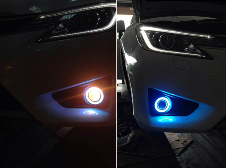 COB angel eye ( 6 colors ) + projector lens + H3 halogen fog lamp + black fog lamp house for toyota reiz 2010-12, 2013-15 сказка о царе салтане cdmp3