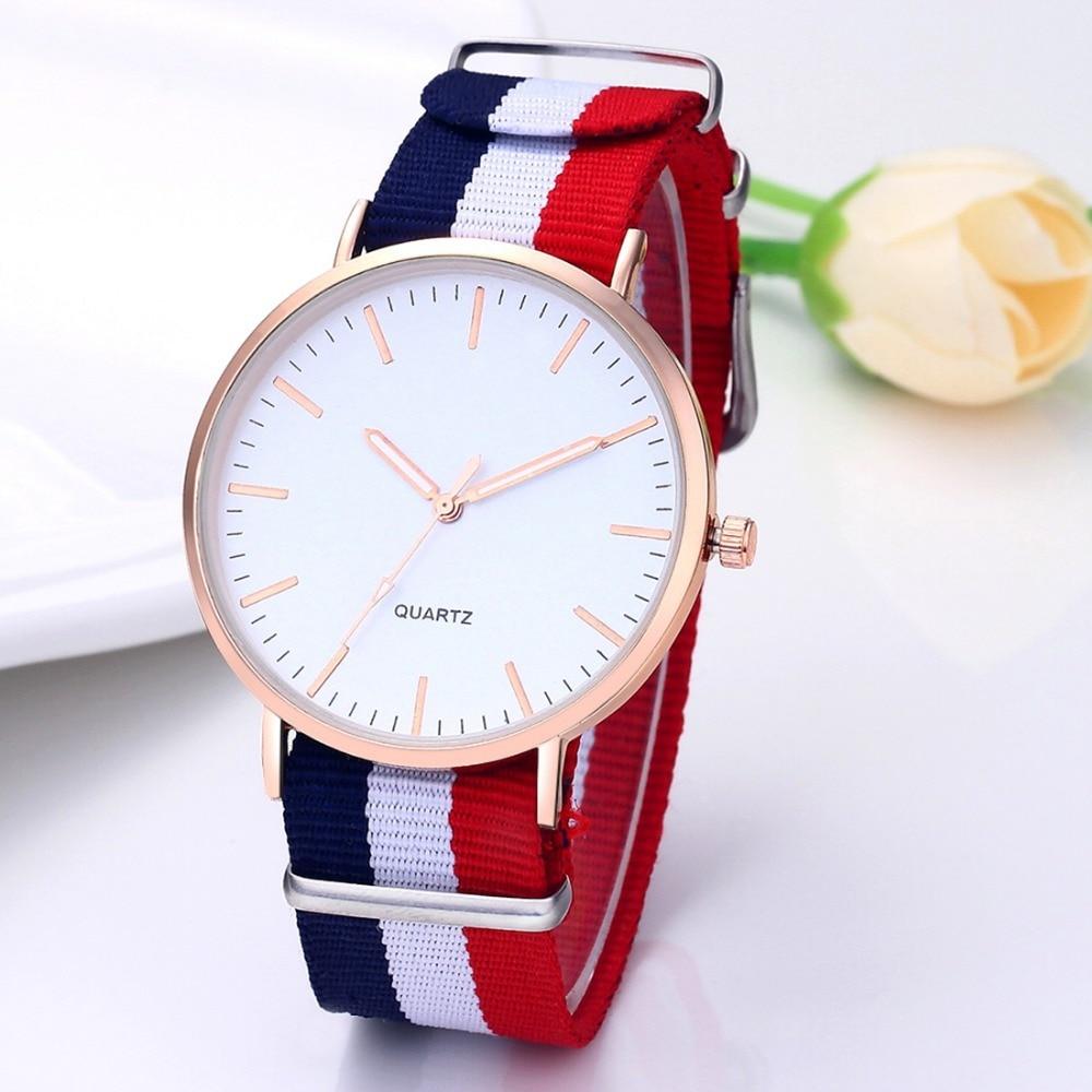 Hot Flag Nylon Strap Watch Women Simple Style Gold Case Quartz Watches Men Unisex Wristwatch Fashion Casual Relogio Feminino Saa