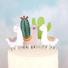 5pcs Llama Alpaca Cactus Cake Toppers  Cartoon Cute Party Baby Shower Kids Birthday Decorations Supplies