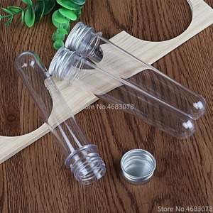 Image 2 - 50 個 40 ミリリットル優れたプラスチック透明試験管アルミキャップボトル 25 × 140 ミリメートル学用品ラボ機器