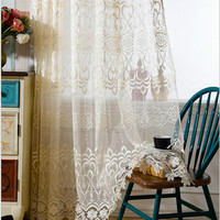 decoration blind beige curtains Living room screens creamy-white sheer European water - soluble embroidery tulle for home