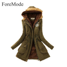 ForeMode Women Winter Wool Coat Female Candy Color Coat with Pockets Mid Long Hooded Outwear down jacket for women