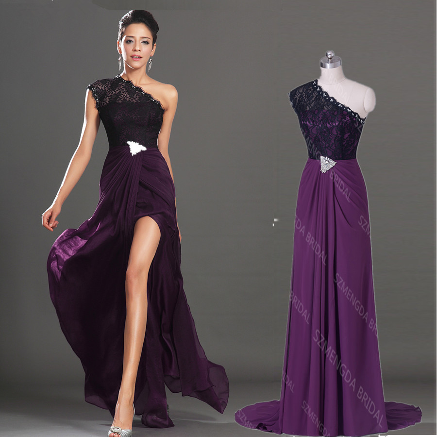 Aliexpress.com : Buy Affordable Side Slit Dark Purple Evening ...
