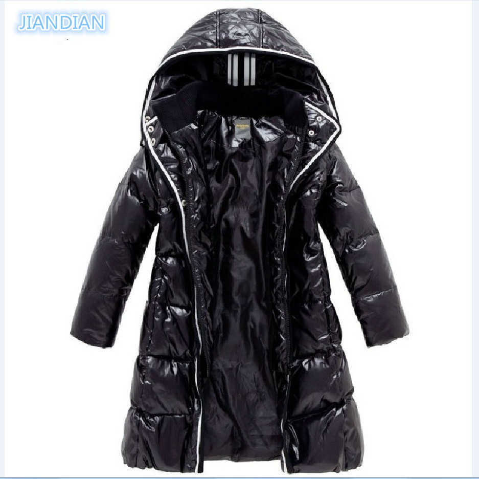 NEW Fashion Girls Winter Coats Female Child Down Jackets Outerwear Shiny Waterproof Medium-long Thick 90% Duck Down Parkas