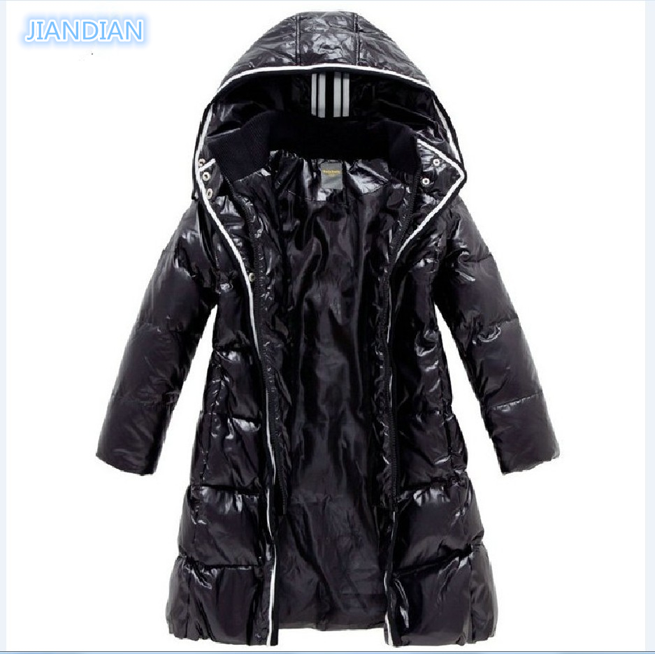NEW 2017 Fashion Girls Winter Coats Female Child Down Jackets Outerwear Shiny Waterproof Medium long Thick