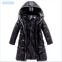 NEW 2017 Fashion Girls Winter Coats Female Child Down Jackets Outerwear Shiny Waterproof Medium long Thick 90% Duck Down Parkas