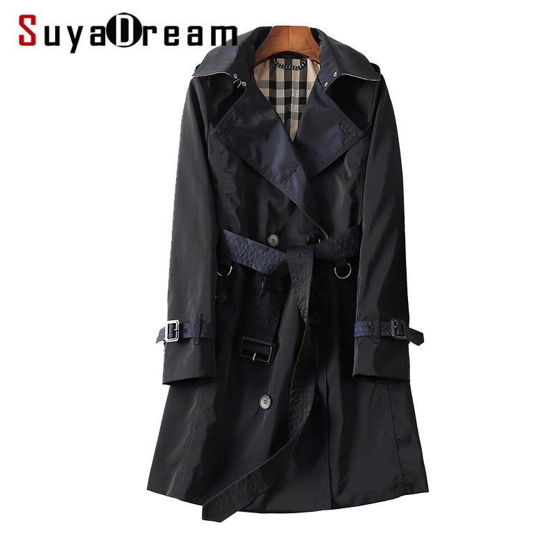 Women   Trench   Belted Double Breasted Long   trench   coat 2018 Fall Winter outer wear Black casaco feminino