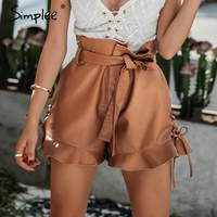 Simplee Side Lace Up Black Leather Shorts Women Cinched Belt Eyelet High Waist Shorts 2017 Autumn
