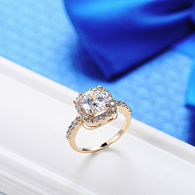 6 Color 2017 Big Stone Vintage Cubic Zircon Rose Gold Rings for Women Wedding Gengagement Rings Fashion Jewelry Christmas Gift