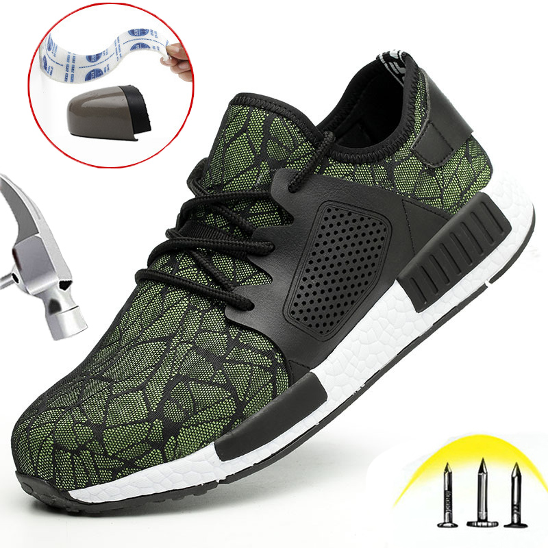 Steel Toe Work Safety Shoes Mens Womens Soft Puncture Proof Lightweight Sport Non-Slip Casual Breathable Protection Footwear