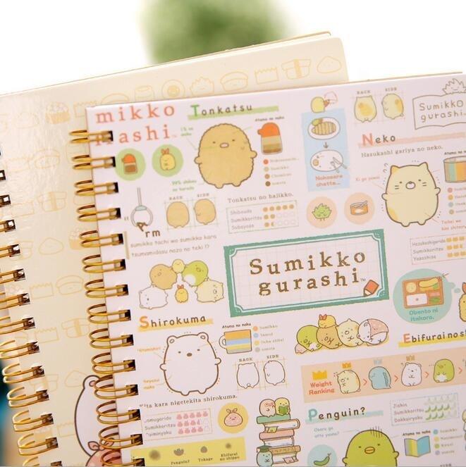 8pcs/lot NEW Kawaii Japan cartoon bear and animals Coil notebook Diary agenda pocket book/office school supplies 60sheets