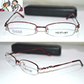 Óptico por encargo lente óptica aleación de titanio semi borde de color rojo oscuro mujeres del marco ovalado gafas de lectura 1 + 1.5 + 2 + 2.5 + 3 + 3.5 + 6