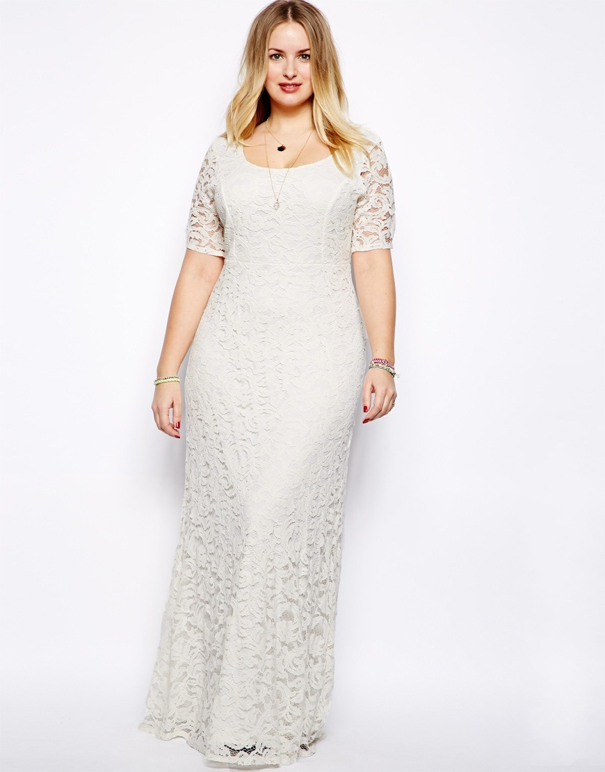 4efeb0f1413 Plus Size Long Lace Dress With Sleeves