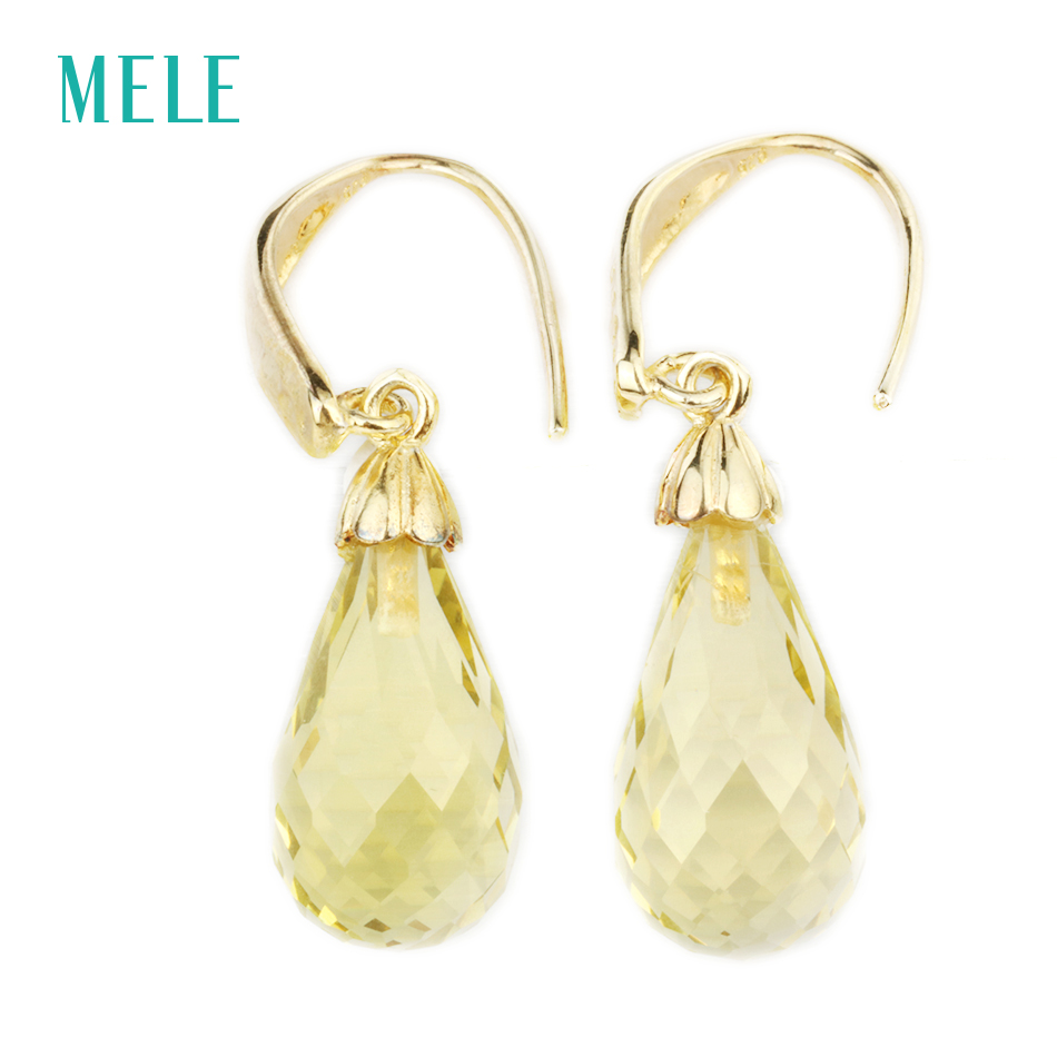 Natural rose quarts lemon quarts silver earring, tear drop checkerboard cutting in 10mm*20mm, fantastic style цена