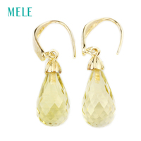 Natural Rose Quarts Lemon Quarts Silver Earring Tear Drop Checkboard Cutting In 10mm 20mm Fatastic Style