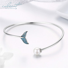 925 Silver Mermaid Tail Cuff Bracelet Original Design Blue CZ Fish White Pearl Bangle for Party Women Chain Jewelry Teen Girls