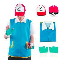 Really Cool Men Pokemon Go Pocket Monster Ash Ketchum Trainer Costume Cosplay Shirt Jacket + Gloves + Hat + Ball