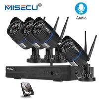 MISECU 4CH 720 P 1MP IP Камера аудио запись Беспроводной видеонаблюдения Системы дома NVR Wi Fi видеонаблюдения Наборы комплект plug & play