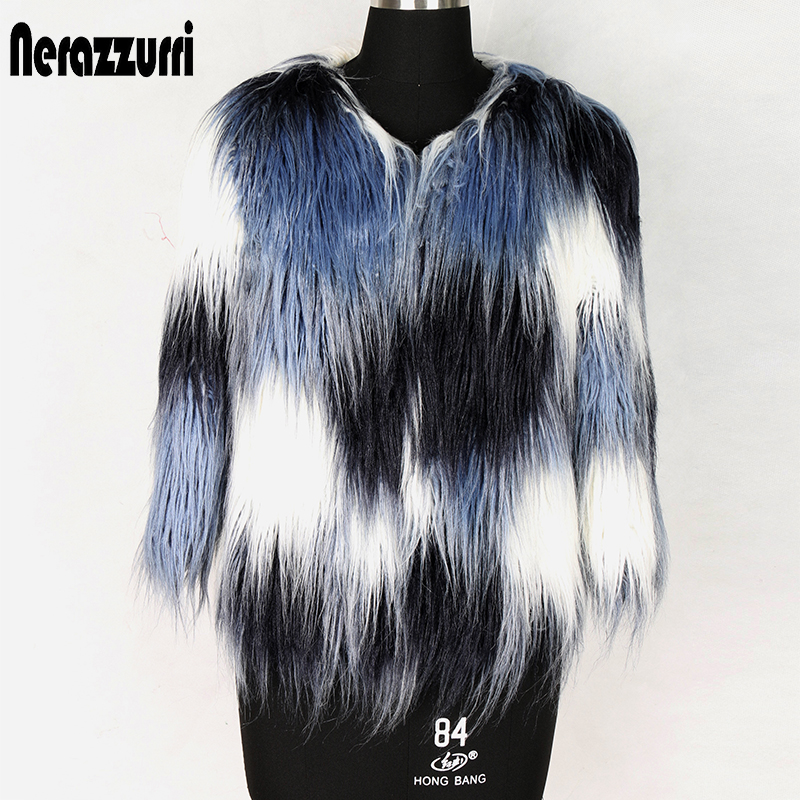 Nerazzurri Multi Color Short Faux Fur Jacket Women Plus Size Three Quarter Sleeve Ladies Fluffy Hairy Furry Artificial Fur Coat