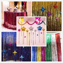 2M Home Wedding Party Decoration Gold Pink Rainbow Sequin backdrop Foil Fringe Tinsel Curtain Birthday Decor Favor
