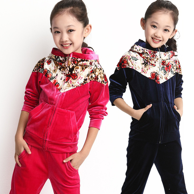 2016 novo estilo de moda inverno roupas de bebê define ativo bebê menina conjuntos conjunto de roupas de outono inverno manter aquecido 2 cores crianças conjunto 3-8 T