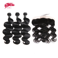 Ali Queen Hair Products Peruvian Human Hair Bundles With Frontal Remy Hair Body Wave Bundles With Lace Closure Natural Color