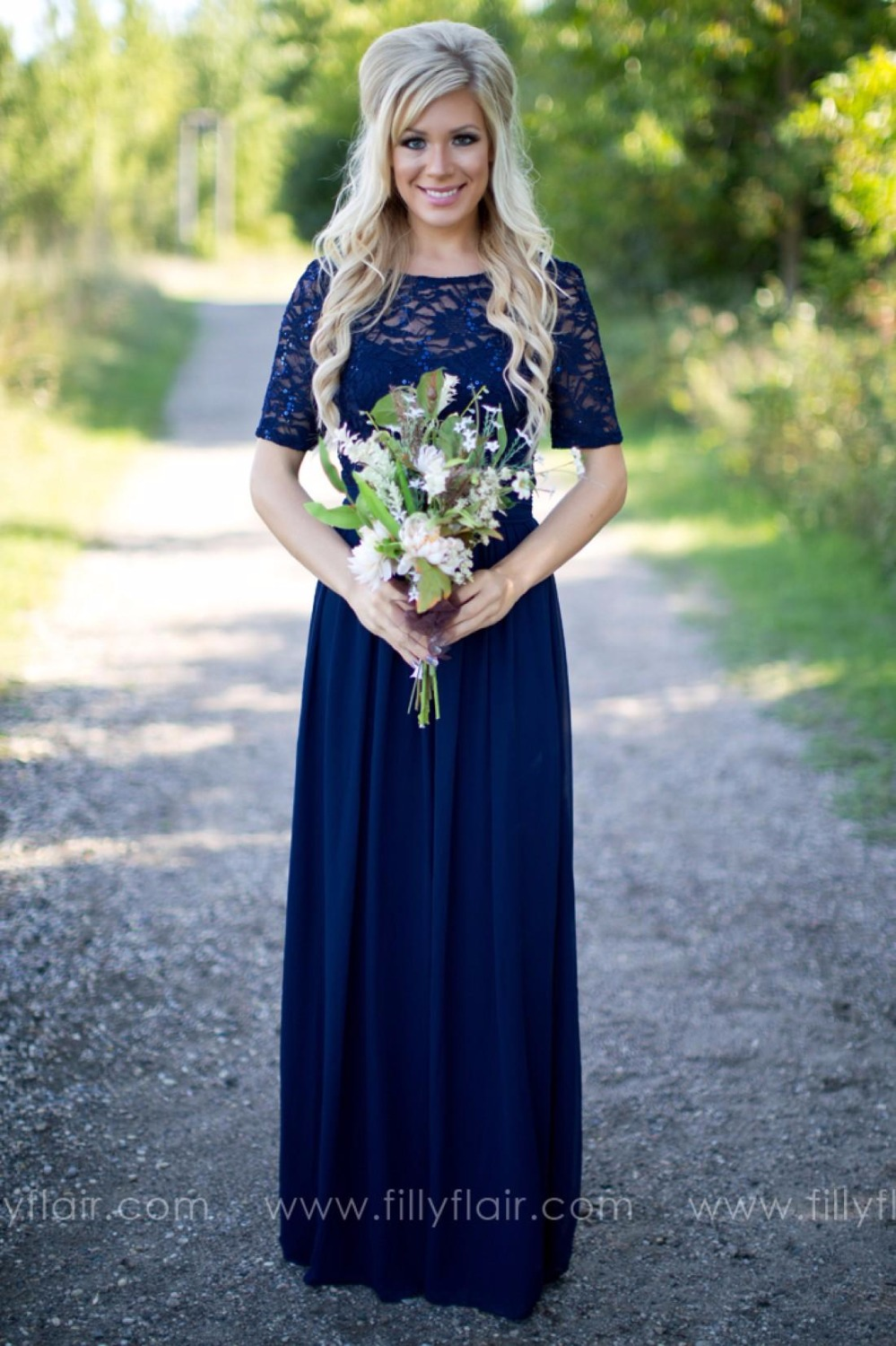 Cecelle 2016 sparkly navy blue long modest rustic for Long blue dress for wedding